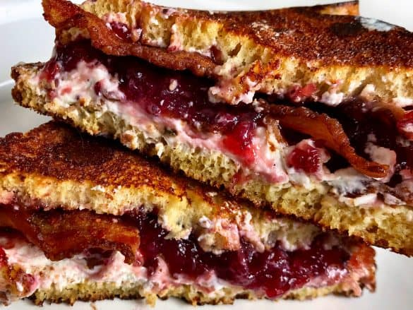 bacon keto jelly and goat cheese grilled sandwich